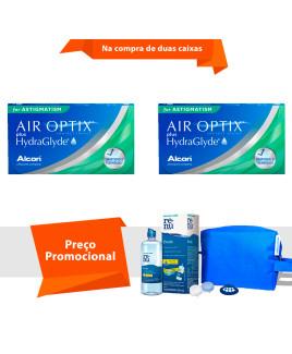 Air Optix Plus HydraGlayde para Astigmatismo com Kit Renu