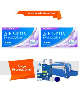 Air Optix plus HydraGlyde Multifocal com Kit Renu Fresh