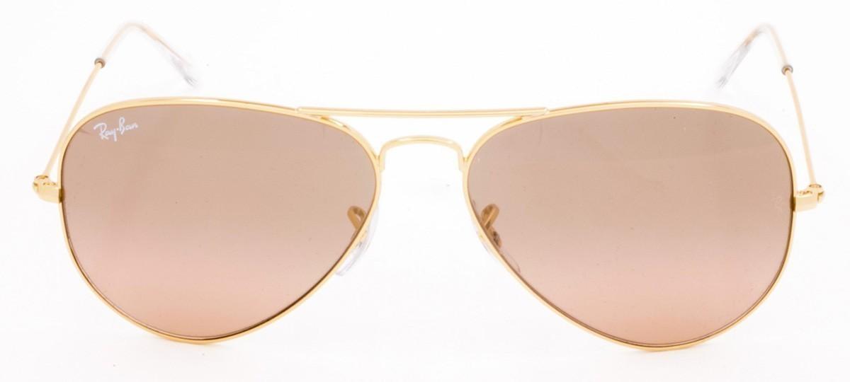 d421c0368b Ray-Ban Aviator RB 3025Lente Rosa Semi Espelhada Prata e Dourado 55 |  Viallure Lentes e Óculos